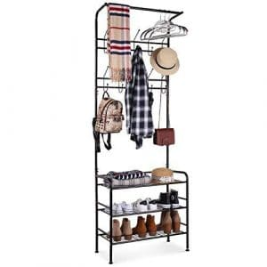 HOMFA Metal Entryway3-tier Coat Shoe Rack with 20 Hooks (Black)