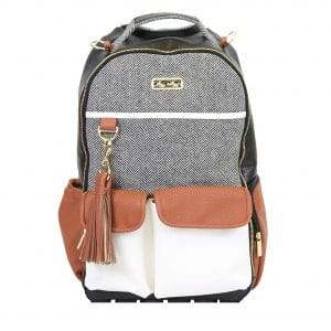 Itzy Ritzy Diaper Bag Backpack with Changing Pad and Stroller Clips, Coffee and Cream