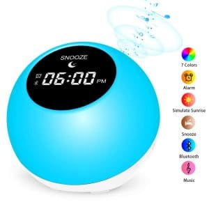 9. Anymow Sunrise Alarm Clock Wake-Up Light with seven Colored Atmosphere Lamp