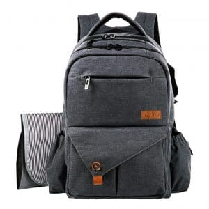 HapTim Multi-function Diaper Bag Backpack with Stroller Straps (Dark Gray-5284)