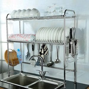 NEX 2-Tier Stainless Steel Height Adjustable Dish Rack (Double Groove)
