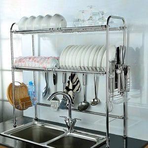 NEX 2-Tier Stainless Steel Height Adjustable Dish Rack (Double Groove)