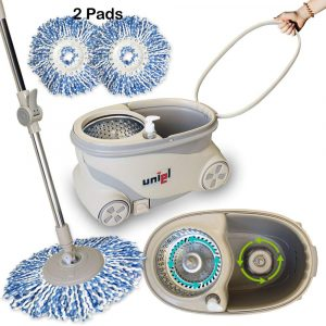 9. UNIEL Spin Mop and Easy to Move Bucket Microfiber Mop Cleaning System