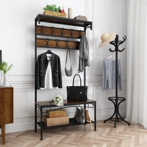 Coat Rack with Shoe Bench