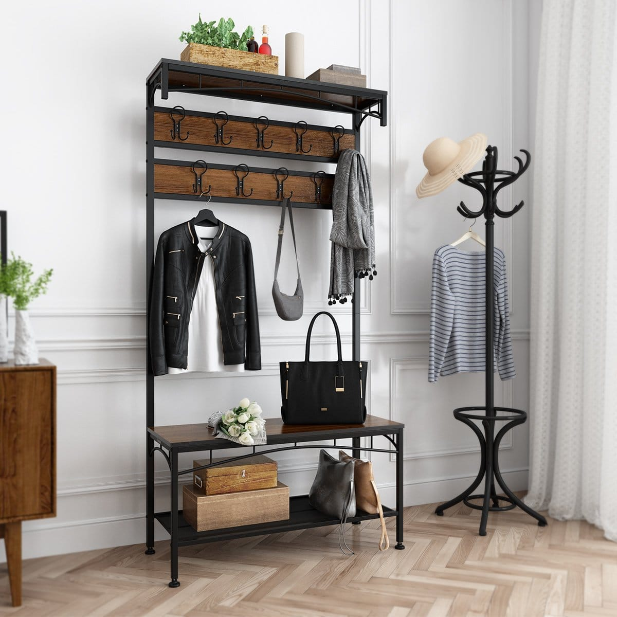 Top 10 Best Coat Rack with Shoe Bench in 2019 Reviews
