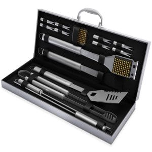 Home-Complete BBQ Grill Tool Set- 16 Piece Stainless Steel Barbecue Grilling Accessories