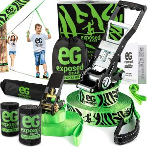 Exposed-Gear Slackline Kit with Training-Line