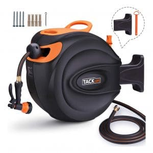 TACKLIFE 65+7 FT 5/8 inches Retractable Hose Reel, 180 Degree Pivot