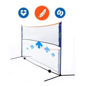 YYWJ Portable Badminton Net,Folding Volleyball Tennis Badminton Net,Easy Setup for for Outdoor//Indoor Court Backyard No Tools or Stakes Required