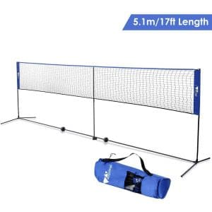 Amzdeal Badminton Net- Adjustable and Portable with Stand