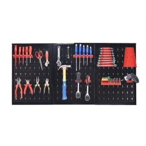 "Goplus Metal 24"" x 48"" Pegboard Panel Garage, Black"