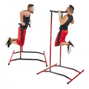 9. GoBeast Portable Power Tower with Three Resistance Bands, Red Black