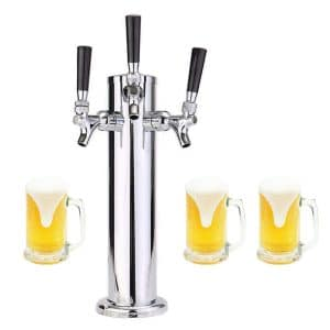"9. LoveDeal Stainless Steel 3 Tap Beer Tower - 3"" Diameter"