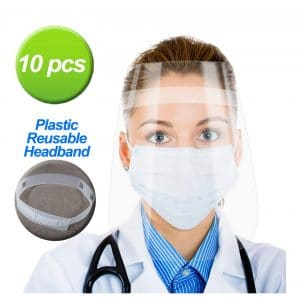 Vanskee 10 Pcs Safety Face Shield Adjustable Headband