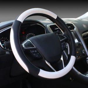SEG Direct White & Black Microfiber Leather Auto Steering Wheel Cover