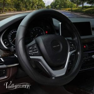 Valleycomfy Microfiber Leather Large-Size Steering Wheel Cover