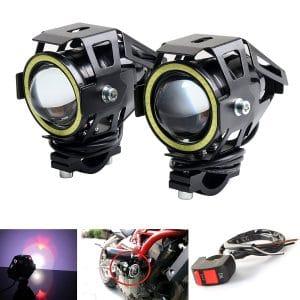 LEDUR Led Motorcycle Fog Headlight 2PCS (White Halo)