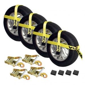 Vulcan Yellow Adjustable Car Tie-Down Kit