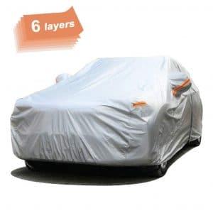 SEAZEN Car Cover 6 Layers Waterproof Car Cover with Zipper Door