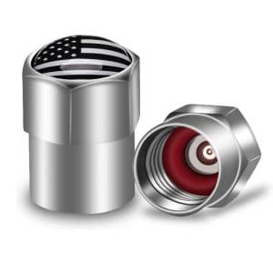 Cap Art USA Flag Chrome Tire Valve Stem Caps, 6 Pack