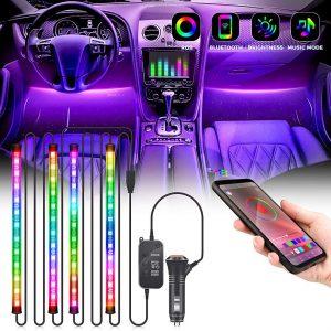 Kemaier 4pcs Multicolor Interior Car Lights