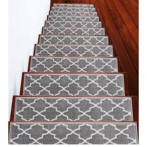 "SUSSEXHOME Stair Treads Trellisville Soft Vibrant and cozy Collection Contemporary Carpet Stair Treads, 9"" x 28"""