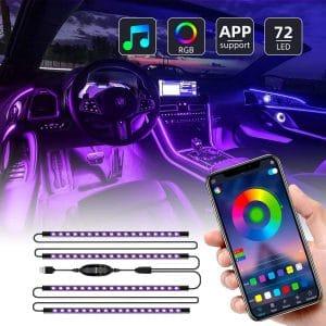 Ualau 72 LED Multi DIY Color Interior Car Lights