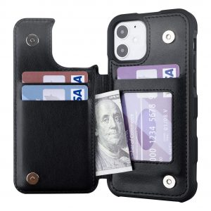 Restoo iPhone 12 Pro Case Card Holder Wallet Case 6.1 inch, Black