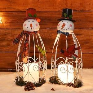 Juegoal Snowman LED Candle Christmas Lantern