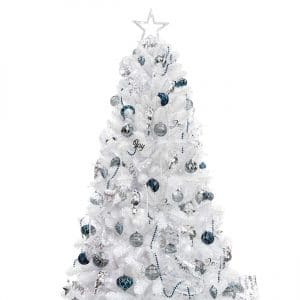 KI Store 7FT Artificial Christmas Tree, White with LED String Lights