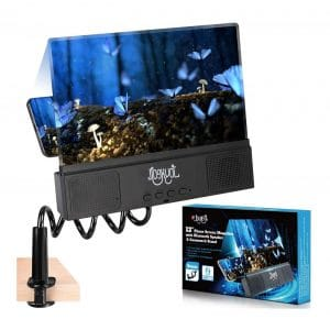 JOYXEON 12 Inches Phone Magnifier with Gooseneck Stand and Bluetooth Speaker