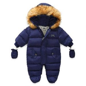 WALLARENEAR Infant Baby Snowsuit with Gloves