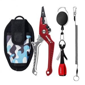 SAMSFX Aluminum Fishing Pliers with Coiled Lanyard